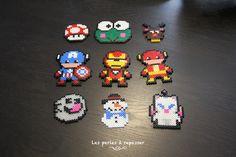 Champignon Mario, Keroppi, Captain America, Iron Man, Flash, Fantôme, Mog Theme Noel, Perler Beads, Captain America, Iron Man, Cross Stitch, Crafts, Hama Beads, Punto De Cruz, Manualidades