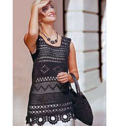 Crochet tunic PATTERN crochet bag PATTERN por FavoritePATTERNs                                                                                                                                                                                 Más