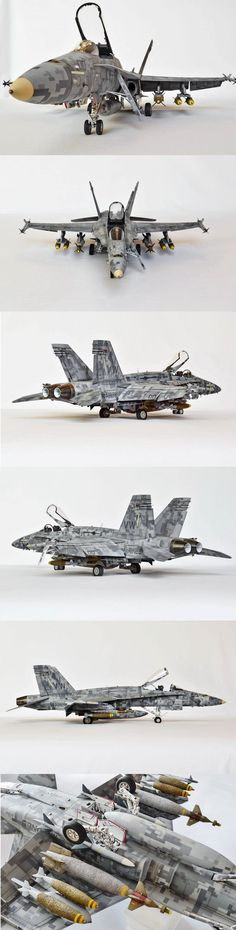"""The Impossible Camo : F/A-18 in Digital Scheme"" by Alfonso Cesar. ACADEMY 1/32 scale McDonnell Douglas F/A-18 Hornet. #scale_model #aircraft http://www.largescaleplanes.com/articles/article.php?aid=1009"