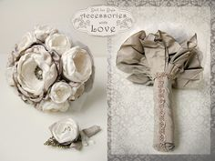 wedding flowers  hand made wedding flowers, buchet de mireasa confectionat din material textil