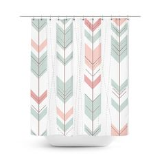 Mint green shower curtain  Pastel pink shower by HomeArtAndBeyond