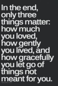 Three things matter