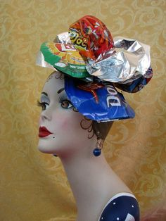 Fascinator Hat Recycled Headdress - Crazy Chip Bag Headpiece. $20.00, via Etsy.