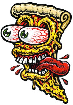 LARGE PIZZA FACE 2 full color shaped vinyl sticker from Jimbo Phillips webstore