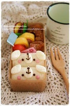 Cute doggy rolled sandwich bento box