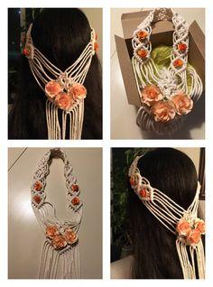 Macrame Headband, Macrame Patterns, Plant Hanger, Veil, Handmade, Painting, Accessories, Decor, Handmade Crafts
