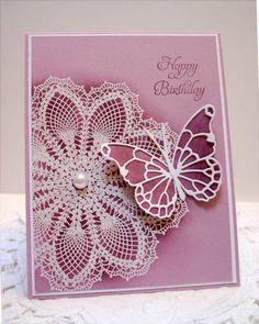 Beautiful card.  Love the doily.  Card made by www.sleepyinseatt...