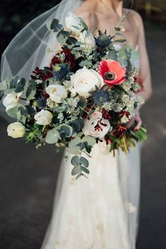 Winter Wedding Bouquet With Anemones | Liberty Pearl Photography