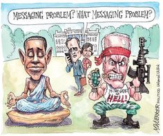 """Messaging problem""  | Cartoon by Matt Wuerker/POLITICO | http://www.politico.com/wuerker/2014/09/september-2014/002010-028642.html #whitehouse #obama #biden"