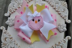Easter Boutique Bow PINKY CHICKADEE  Large by TheJellyBeanJunction, $6.99