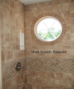 shower tile pattern, love the window too
