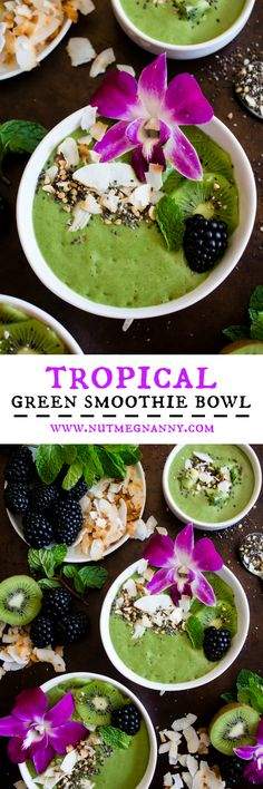 This tropical green smoothie bowl is made with frozen bananas, mango, kiwi, mint, spinach, chia seeds, vanilla soy yogurt and coconut milk. It's ready in just 5 minutes and tastes like a tropical paradise.