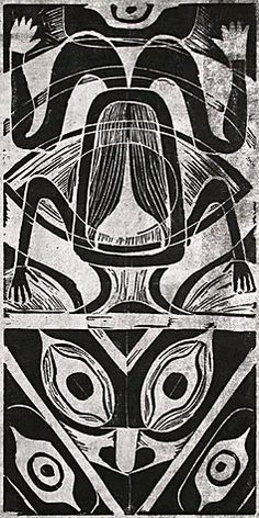 Helmi Dagmar Juvonen (American, 1903-1985). Tlingit Frog. Linocut, c. 1953. Signed and titled in pencil. Exhibited at the Frye Art Museum, 1...