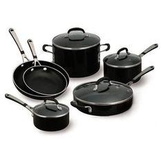 Black enamel with a non stick interior. Calphalon, funny name for serious cookware.