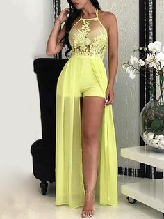 Sheer Mesh Lace Applique Maxi Mamper Dress Bridal Dresses, Prom Dresses, Formal Dresses, Fishtail Dress, Maxi Romper, Latest Ankara Styles, Cutout Dress, Lace Applique, Pretty Outfits