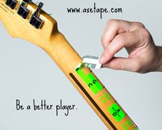 AxeTape for guitar and bass is a visual aid to help you master the notes, learn songs faster and have more fun!