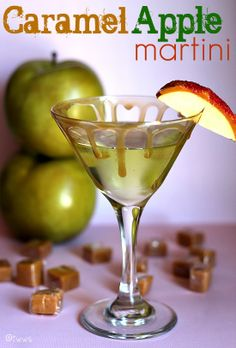 Caramel Apple Martini ~ 1 oz Vodka, 1 oz Sour Apple Pucker, 1/2 oz Butterscotch Schnapps