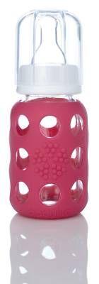 LifeFactory Wee-Go Glass Baby Bottles 4 oz - Raspberry