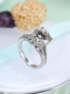 Vintage engagement ring Moissanite engagement ring Women