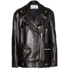 Acne Studios More Leather Jacket (2,100 CAD) ❤ liked on Polyvore featuring outerwear, jackets, black, black jacket, genuine leather jacket, real leather jacket, 100 leather jacket and leather jacket
