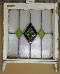 OLD-ENGLISH-LEADED-STAINED-GLASS-WINDOW-Pretty-Geometric-Sash-18-75-x-20