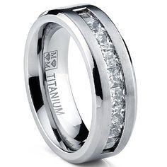 Nice Titanium Men us Wedding Band Engagement Ring with large Princess Cut Cubic Zirconia Size