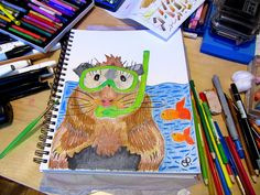 Drawing i did of a Guinea Pig snorkeling- used watercolour pencils, totally juvenile but never the less!