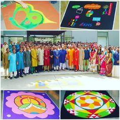 Das Diwali (Lichterfest) mit einem Rangoli Wettbewerb bei der KHS Machinery Pvt.Ltd. in Ahmedabad/Indien (2015).
