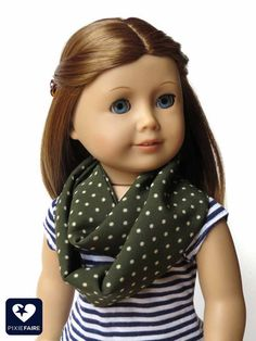 Make a fun, easy, doll-sized infinity scarf -- it only takes three seams and a scrap of fabric! Make a fun, easy, doll-sized infinity scarf -- it only takes three seams and a scrap of fabric! American Girl Outfits, Ropa American Girl, American Girl Crafts, American Doll Clothes, Sewing Doll Clothes, Doll Clothes Patterns, Girl Doll Clothes, Girl Dolls, Doll Patterns
