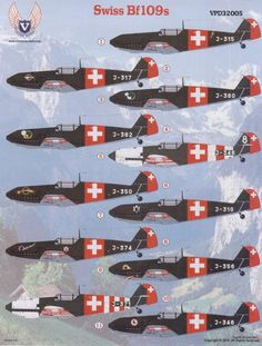 The Gustavs, and two other that were interned after straying into Swiss airspace, were assigned to Fliegerkompagnie but they were unreliable due to deteriorating German production standards at that point in the war, and saw little use. Air Force Aircraft, Ww2 Aircraft, Fighter Aircraft, Military Aircraft, Me 109, Luftwaffe, Fighter Pilot, Fighter Jets, Swiss Air
