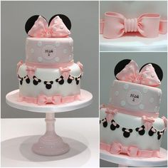 Minnie Mouse themed birthday cake with Minnie Mouse bunting for a vintage twist – www.facebook.com/TiersTiaras