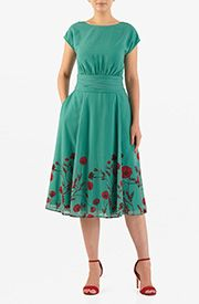 Sculptural pleats at the wide banded waist enrich the sophistication of our fit-and-flare dress tailored in sheer georgette patterned in rich floral print at the hem. Modest Dresses, Trendy Dresses, Modest Outfits, Nice Dresses, Dress Outfits, Casual Dresses, Fashion Dresses, Maxi Dresses, Women's Fashion