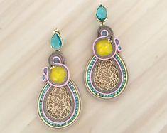 Statement Swarovski crystals earrings, yellow and blue zircon stones, pink soutache details