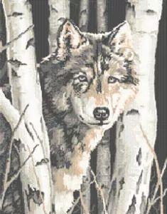 Wolf in Winter cross stitch pattern