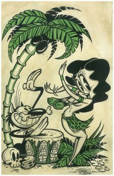 art print, by artist Shawn Dickinson. Print is bagged, boarded, and signed by the artist. Comics Vintage, Vintage Cartoons, Old Cartoons, Classic Cartoons, Cartoon Kunst, Comic Kunst, Cartoon Art, Comic Art, Tiki Art