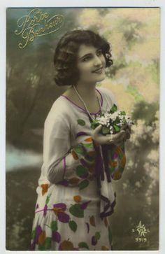 Art Deco Dress Tinted 1920s Photo postcard