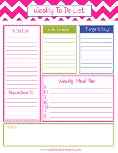 Weekly To Do List Planner Printable #Todolist #Organizated #Printable  - Addicted 2 Savings 4 U