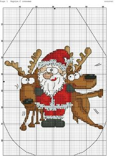 Santa with reindeer- no color chart