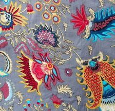 Tissus cachemire, tissu au mètre, coton imprimé gris et multicolore est une création orginale de akkacollection sur DaWanda