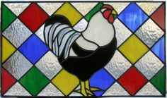 stained glass black & white rooster cabinet insert