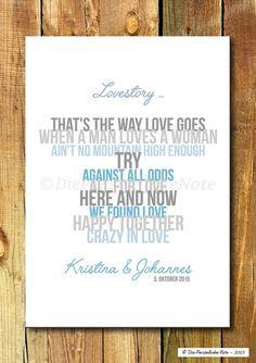 **Lovesong Collection - Print Nr. 1**  Klassisch, romantisch und originell: Eine Lovestory, die sich aus den Titeln bekannter Liebeslieder zusammensetzt - erzählt sie vielleicht auch eure...