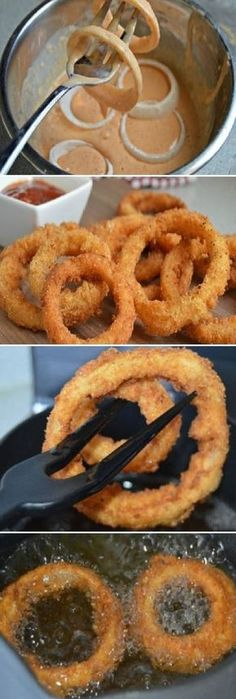 delicious easy snack and … – Recipes Snacks Für Party, Easy Snacks, Easy Meals, Tasty, Yummy Food, Onion Rings, I Foods, Love Food, Food Porn
