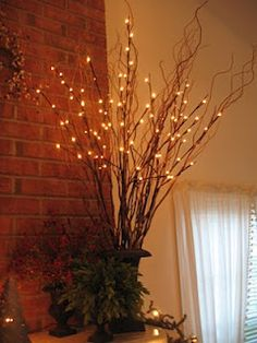 Just in time for the holidays, we now offer Brown Lighted Willow Branches and White Lighted Willow Branches ! These lighted branches are . Twig Lights, Lighted Branches, Willow Branches, Centerpiece Christmas, Holiday Centerpieces, Centerpiece Ideas, Branch Centerpieces, Branch Decor, Light Garland