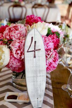 Surfboard table numbers, Peony roses #WestBeachBathersPavilion