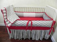 crib bed sets grey and red | Custom Crib Bedding Set Alex - Gray Chevron and Stripes with Red