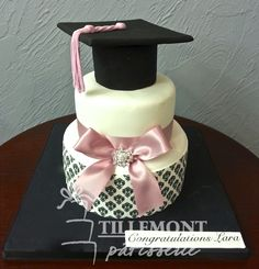 Adorable pink and black Graduation Cake with pink satin ribbon - perfect for any graduate! So cute!