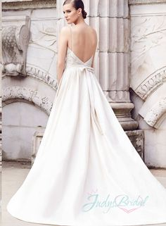 simple low back spahgetti straps a line wedding dress