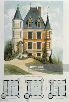 Gothic-style country house, lithograph taken from Parcs et Jardins… Fine art : Gothic-style country house, lithograph taken from Parcs et Jardins des environs de Paris by Victor Petit, France, century Victorian House Plans, Vintage House Plans, Gothic House, Victorian Homes, Victorian Era, Architecture Classique, Victorian Architecture, Classical Architecture, Architecture Drawings