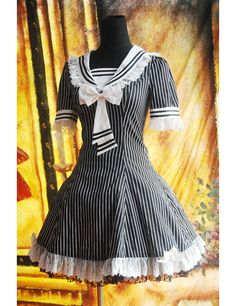 Black And White Stripes Short Sleeves Bowknot Sailor Lolita Dress