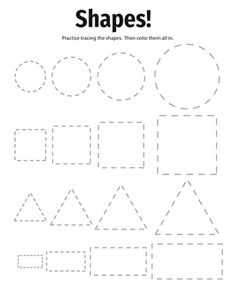 Shapes! Your child's fine motor skills can improve as she carefully traces the circles, squares, triangles and rectangles in this worksheet.